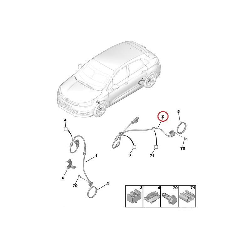 ABS wheel speed sensor rear axle Citroen C4 I/II, DS4 @ Hmk Auto