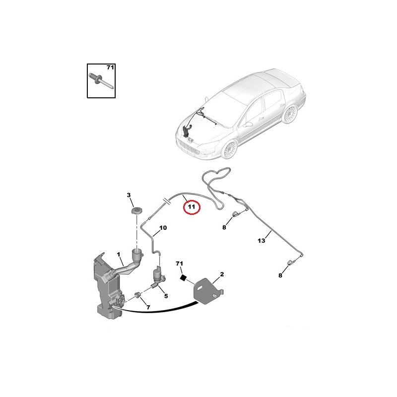 windscreen washer hose peugeot 407   hmk auto