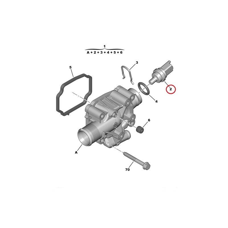 Coolant fluid temperature sensor Citroen/Peugeot 1,4-1,6
