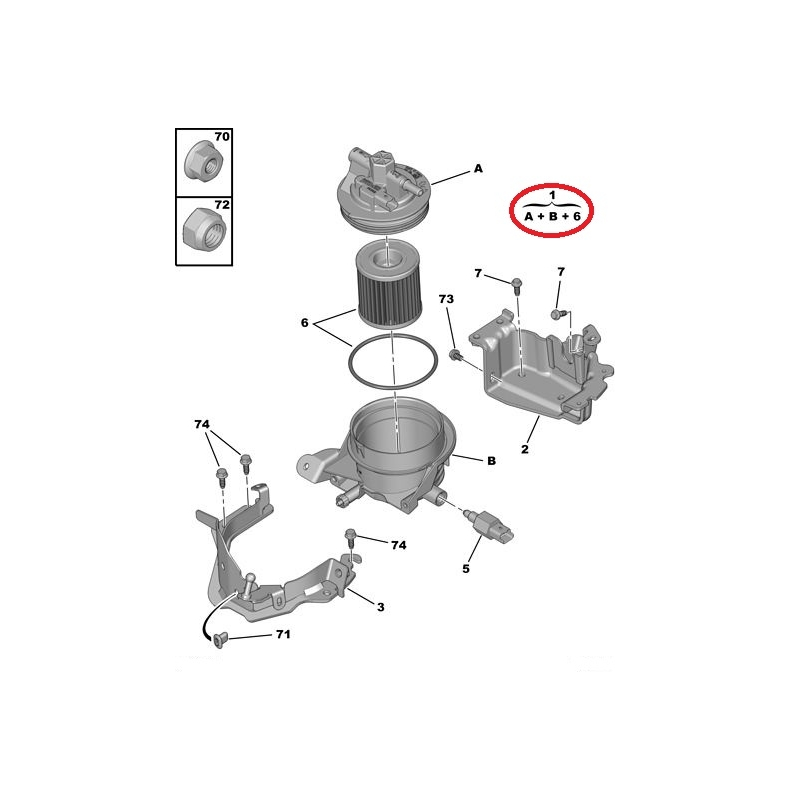 fuel filter with housing citroen  peugeot 2 0hdi   hmk auto