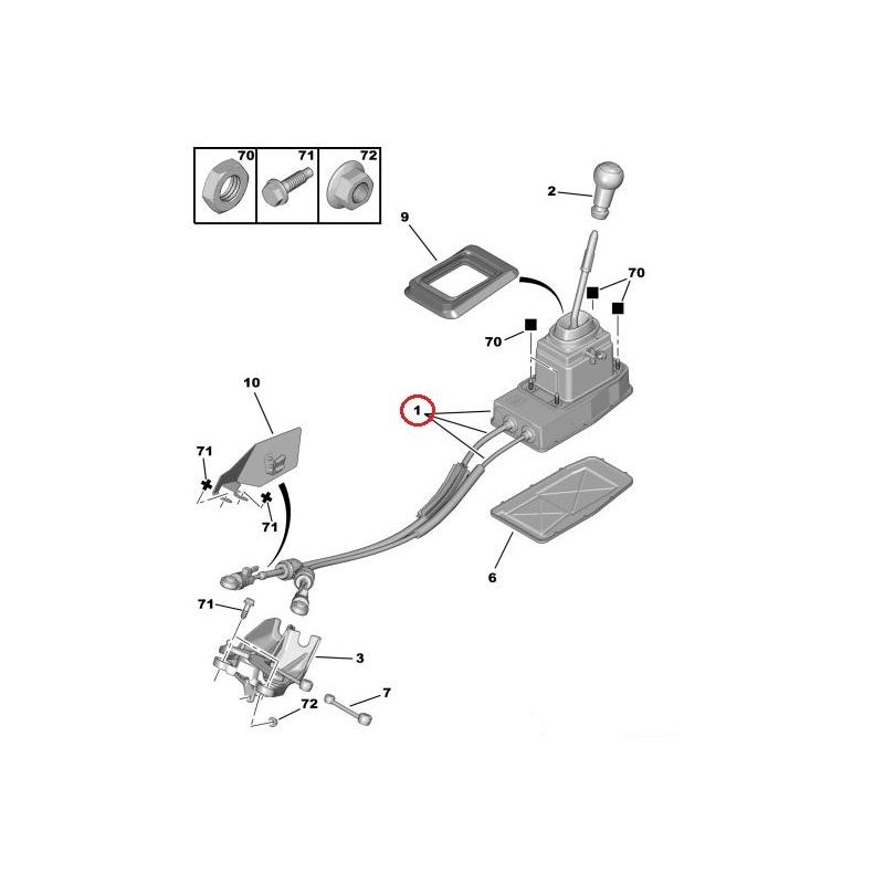 Gear shift lever actuator with cables Citroen C5/Peugeot 407 @ Hmk Auto