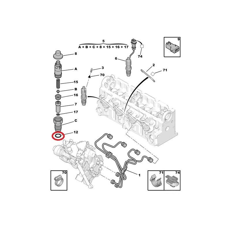engine injector seal citroen  peugeot 1 9d dw8  2 5d td