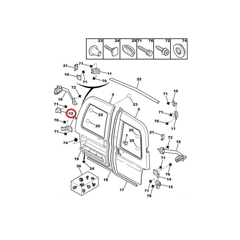 rear door hinge lower left berlingo  partner