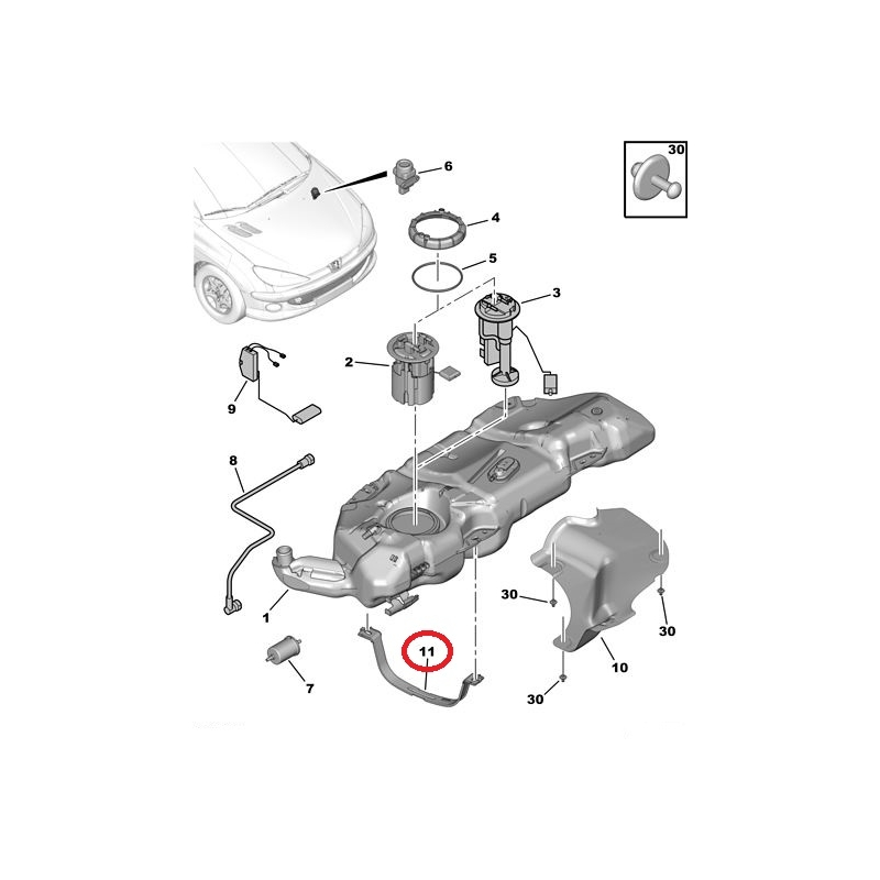 fuel tank strap peugeot 206   hmk auto