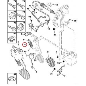 Clutch pedal spring PSA