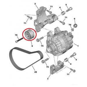 Auxiliary belt idler pulley OEM Citroen/Peugeot 1,4HDI/1,6HDI