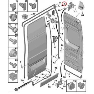 Rear door hinge upper left Jumper/Boxer/Ducato 2006- (180°opening doors)