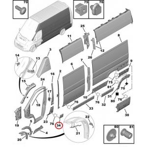 Ukseposti (B-piilari) liist vasak Jumper/Boxer/Ducato 2006- (L1-L2-L3)