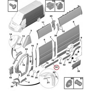 Молдинг боковой/дверной правый Jumper/Boxer/Ducato 2006- (L2-L3-L4)