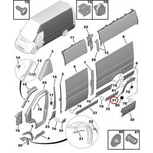 Wheel arch trim rear left Jumper/Boxer/Ducato 2006-