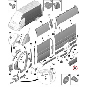 Side panel rear left trim Jumper/Boxer/Ducato 2006-