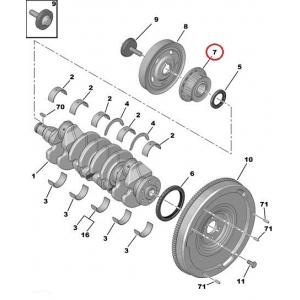 Hammaspyörä, kampiakseli Citroen/Peugeot 1,4-1,6HDI