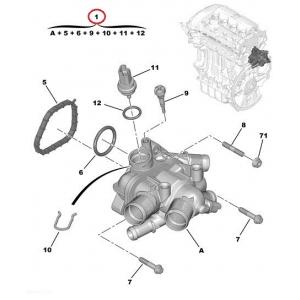 Termostaat korpusega Citroen/Peugeot 1,6 16V EP6/EP6DT/EP6CDT mootorid