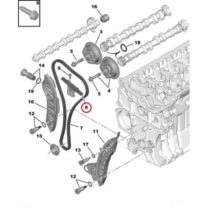 Timing chain guide Citroen/Peugeot EP-engines
