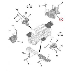 Опора двигателя левая Jumper/Boxer/Ducato 06- 3,0HDI
