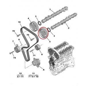 Hammaspyörä, nokka-akseli TU5J