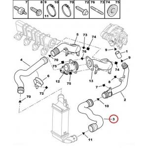 Turbo hose lower Citroen C5, Peugeot 406 2,0HDI