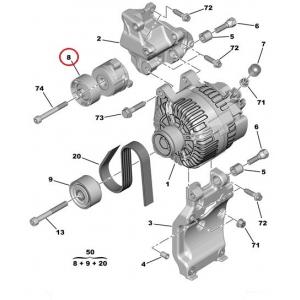 Auxiliary belt tensioner Citroen/Peugeot 1,6HDI