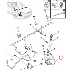 Washer fluid reservoir Peugeot 307