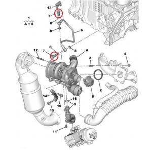 Turbo oil return pipe bolt lower Citroen/Peugeot 1,6HDI