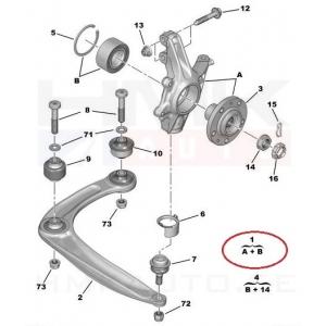 Кулак поворотный (цапфа) левый Citroen/Peugeot