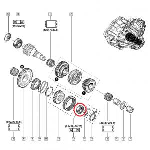 Vaihdelaatikko laakeri 25x52x16,25  Renault PF6