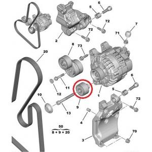 Ведущий ролик поликлинового ремня Peugeot/Citroen 1,4-1,6HDI