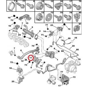 Tiiviste, pakokaasun kierrätys Citroen/Peugeot 2,0HDI