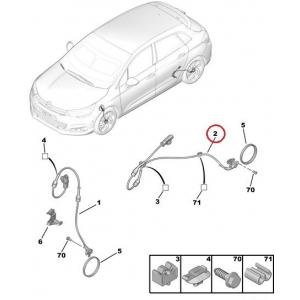 ABS wheel speed sensor rear axle Citroen C4 I/II, DS4