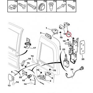 Rear door lock Citroen Berlingo/Peugeot Partner -08