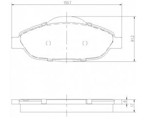 Тормозные колодки передние комплект Peugeot 308/3008