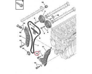 Timing chain guide rail bolt Citroen/Peugeot EP-engines