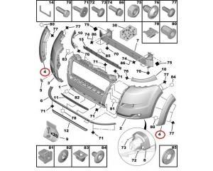 Молдинг арки на передней бампер левый Jumper/Boxer/Ducato 2006-