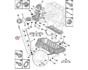Oil dipstick Citroen/Peugeot 1,8-2,0 16V