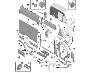 Suoja-/koristelista, kylkipaneli, oikea Jumper/Boxer/Ducato 2006- L4