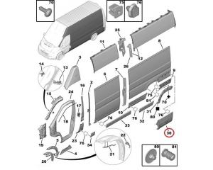 Задний молдинг боковой панели левый Jumper/Boxer/Ducato 2006-
