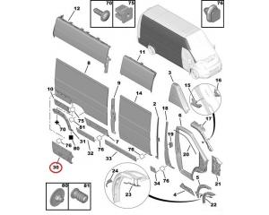 Задний молдинг боковой панели правый Jumper/Boxer/Ducato 2006-