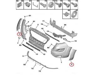 Молдинг арки на передней бампер левый Jumper/Boxer/Ducato 2014-