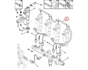 Pihusti tagasivoolutoru Citroen/Peugeot 2,0HDI