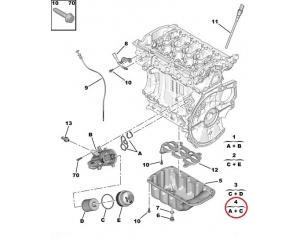 Õlifiltri jala tihendi komplekt Citroen/Peugeot