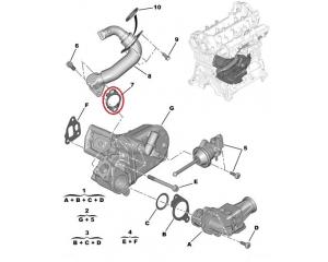 Tiiviste, pakokaasun kierrätys Citroen Nemo/Peugeot Bipper 1,3HDI
