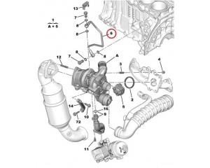 Turbo õlitustoru Citroen/Peugeot 1,6 16V EP-mootor