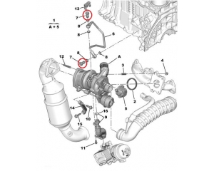 Turbo õlitustoru alumine polt (tagasivool) Citroen/Peugeot 1,6HDI