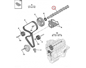 Nokka-akseli Citroen/Peugeot 1,6HDI Euro5