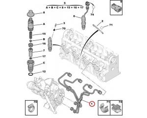 Комплект топливных трубок Citroen/Peugeot 1,9D DW8
