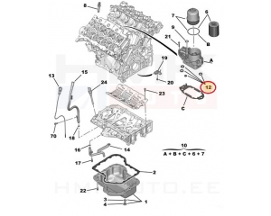 Õlifiltri korpuse tihendikomplekt Citroen/Peugeot