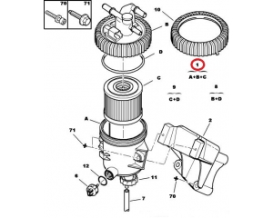 Kütusefilter korpusega Citroen/Peugeot 2,0HDI (3 toru)