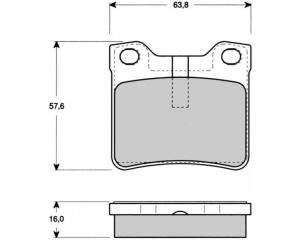 Комплект задних тормозных колодок Peugeot 406/607