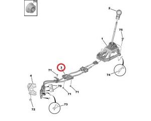 Gear link control cable Citroen C1/Peugeot 107