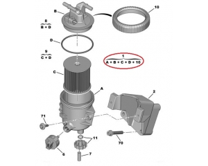 Fuel filter with housing Citroen/Peugeot 2,0HDI (2 pipes)